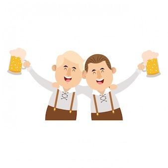 Bavarian men oktoberfest cartoons