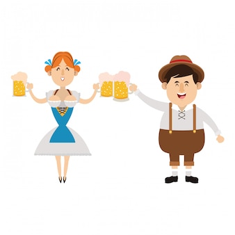 Bavarian people oktoberfest cartoon
