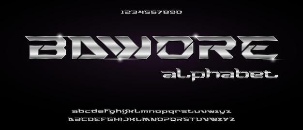 Bawore, спортивный цифровой современный футуристический алфавит с шаблоном городского стиля