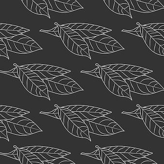베이 잎은 검은색 바탕에 원활한 패턴을 스케치합니다. 식품 재료 벽지. 빈티지 새겨진 스타일 배경입니다. 벡터 일러스트 레이 션