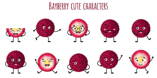 Bayberry fruit cute funny cheerful characters with different poses and emotions. natural vitamin antioxidant detox food collection.   cartoon isolated illustration.