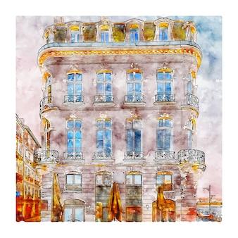 바욘 프랑스 수채화 스케치 손으로 그린 그림