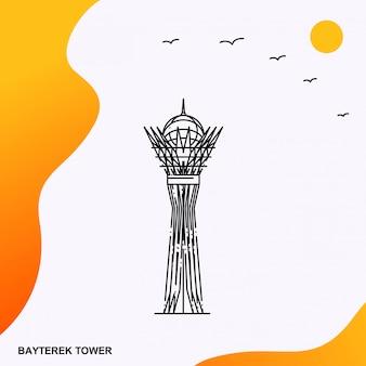 Шаблон плаката для путешествий bayterek tower