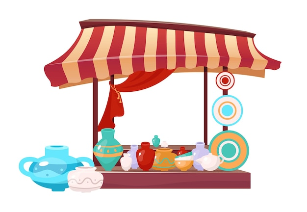 Bazaar awning with handmade ceramics cartoon . eastern marketplace tent flat color object. outdoor fair canopy with handcrafted earthenware, clay crockery isolated on white.