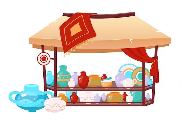 Bazaar awning with handmade earthenware cartoon illustration