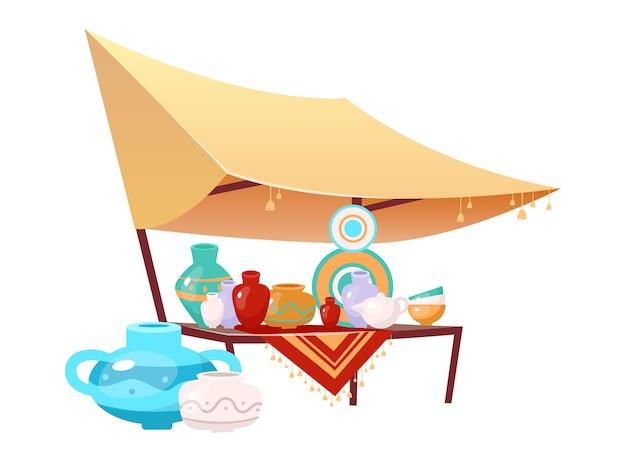 Базарный тент с мультяшной керамикой ручной работы. египет, стамбул рыночная палатка плоский цветной объект. открытый выставочный навес с керамикой ручной работы, изолированные на белом фоне