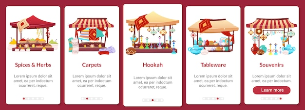 Шаблон экрана подключения мобильного приложения bazaar. азиатский уличный рынок. восточная ярмарка. пошаговое руководство сайта пошагово с символами на белом. ux, ui, gui смартфон, мультипликационный интерфейс