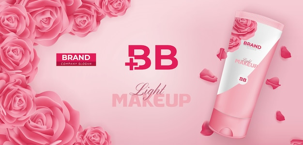 Bb beauty cream cosmetic ad banner template design