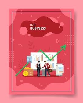 バナーチラシ本カバーのテンプレートのためのbbビジネスマンハンドシェイクフロントコンピューター統計チャートウォレットスマートフォン
