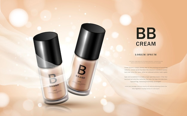 Bb cream ads with glass bottles for cosmetic base