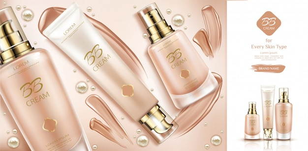 Bb cream beauty cosmetics and smears for skin foundation.