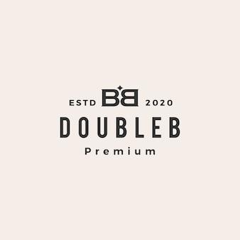 Bb 더블 b 문자 마크 빈티지 로고 아이콘 그림