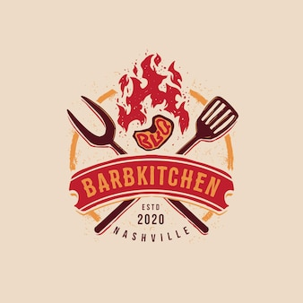 Bbq badge emblem logo template barbkitchen editable text