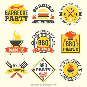 Badge barbecue nel design piatto