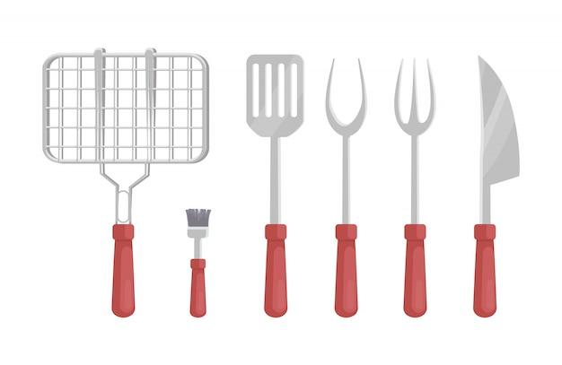 Bbq barbecue flatware icons illustration