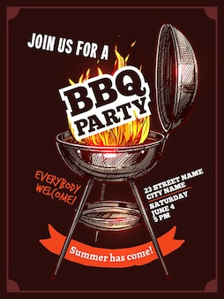 Bbq barbecue vintage color party poster with fire