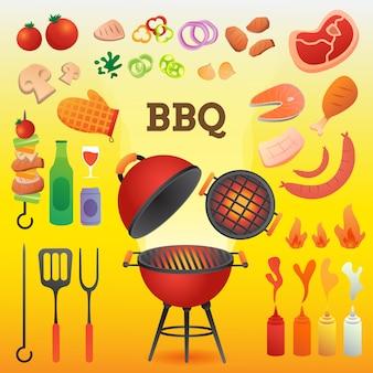 Гриль bbq и инструменты bbq устанавливают плоский стиль для иллюстрации шаблона карточки или приглашения.
