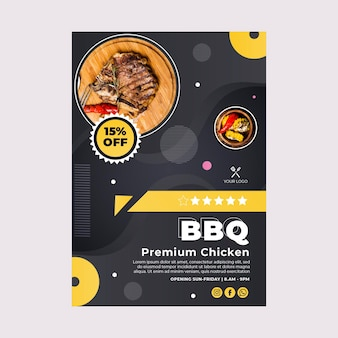 Bbq best fast food restaurant poster template