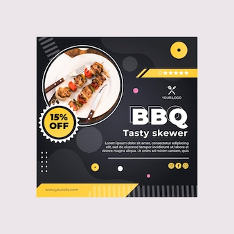 Bbq best fast food restaurant square flyer template