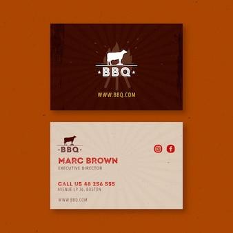 Bbq business card template Premium Vector