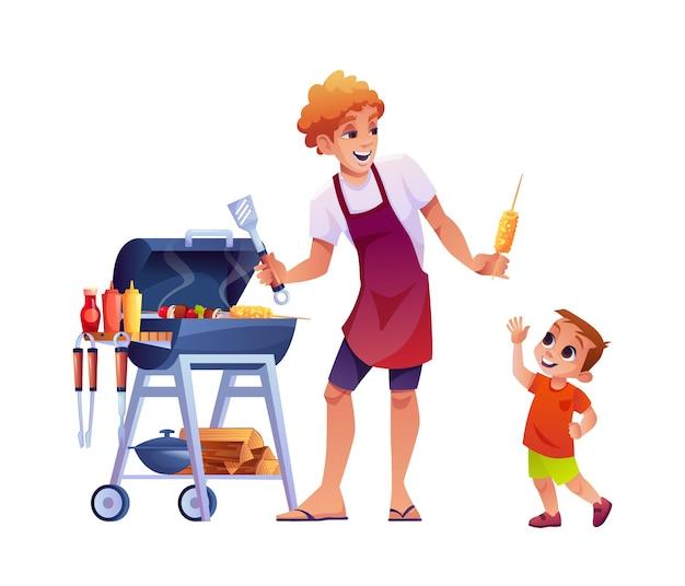 바베큐 아빠는 그의 아들 옥수수 절연 만화 사람들이 고기 벡터 아버지와 어린 소년을 굽고 제공
