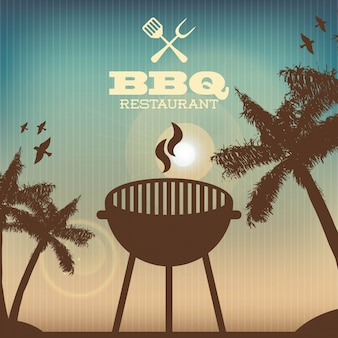Bbq design over pattern  background vector illustration