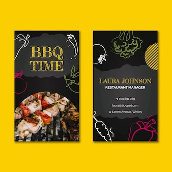 Bbq double-sided business card template