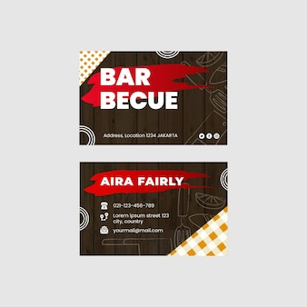 Bbq double-sided businesscard horizontal template