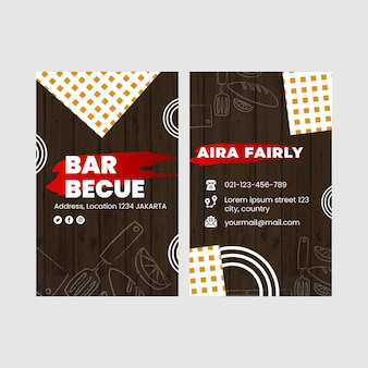 Bbq double-sided businesscard vertical template