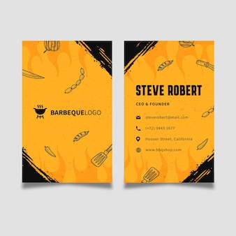Bbq double-sided vertical business card