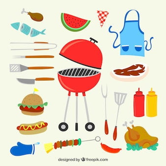 Bbq element collection in flat design