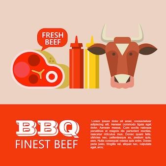 Барбекю. лучшая говядина. векторные картинки. голова коровы, прекрасный вкусный стейк, горчица и кетчуп. иллюстрация с пространством для текста.