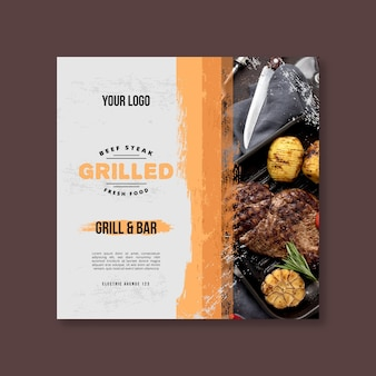 Bbq flyer square template