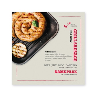 Bbq flyer square with meat