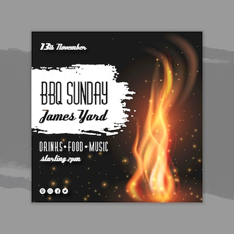 Bbq flyer template concept