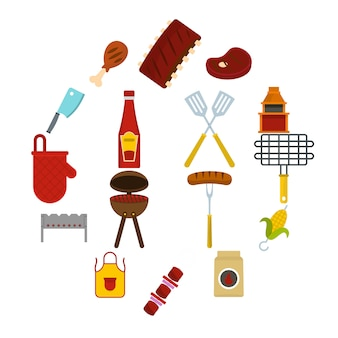 Bbq food icons set in flat style