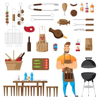 Bbq and grill accessories flat icons set isolated