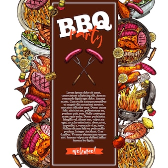 Bbq and grill background barbecue party invitation