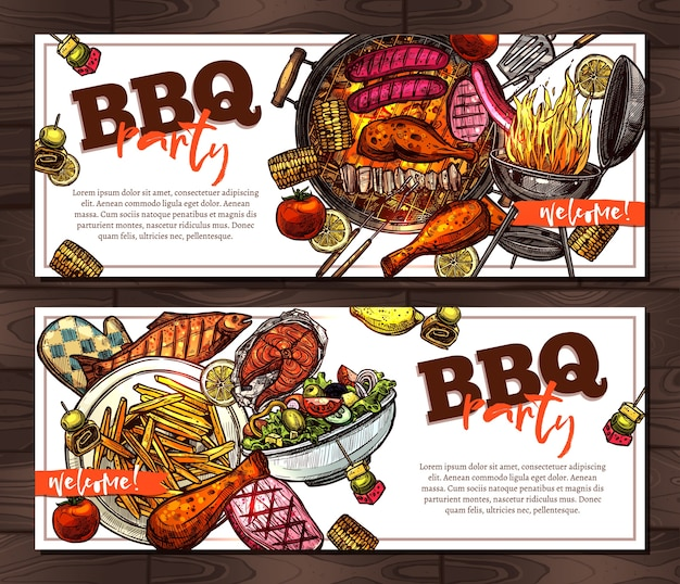 Bbq and grill banners with barbecue party invitation