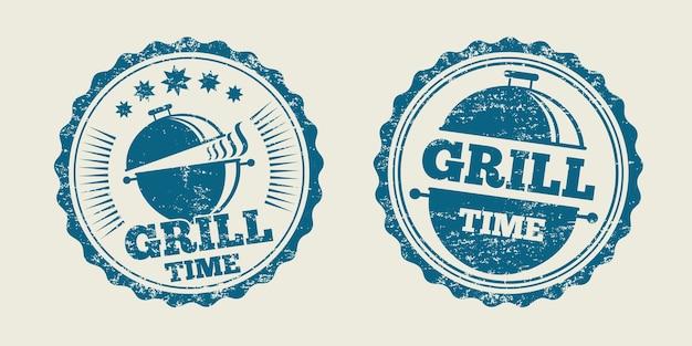 Bbq grill barbecue vintage steak menu seal stamp. barbecue seal for restaurant, label barbecue stamp