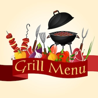 Bbq grill elements composition