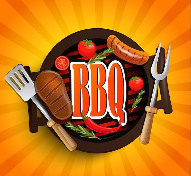 Bbq grill elements. vector.