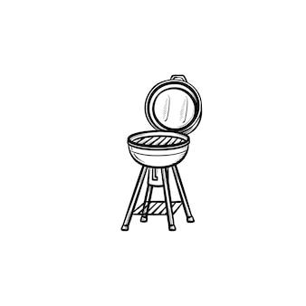 バーベキューグリル手描きのアウトライン落書きアイコン。白い背景で隔離の印刷、ウェブ、モバイル、インフォグラフィックのケトルバーベキューグリルベクトルスケッチイラスト。