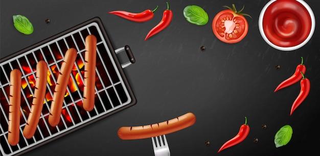 Bbq grill hot dog banner tasty menu