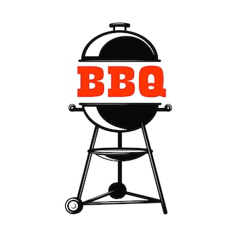 Bbq grill illustration on white background