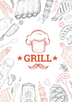 Bbq and grill menu. barbecue food background. vintage style. doodle sketch.