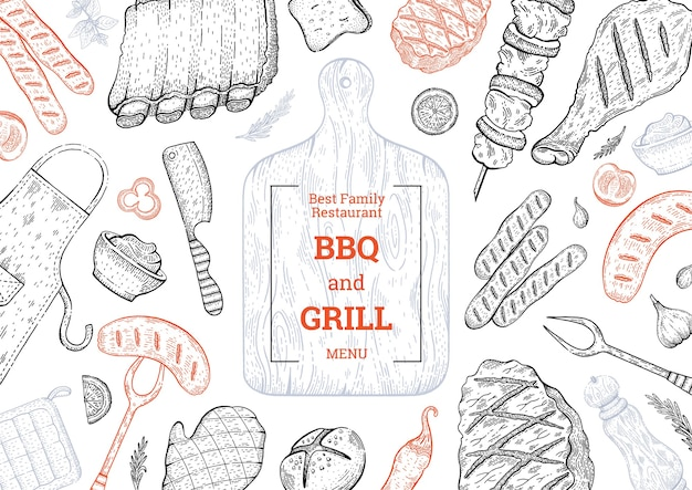Bbq and grill menu, barbecue food background with meat steak kebab chicken. vintage style.