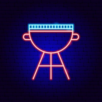 Bbq grill neon sign. vector illustration of barbecue promotion.