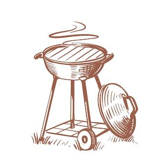 뜨거운 공기 스케치 스타일로 열린 바베큐 그릴