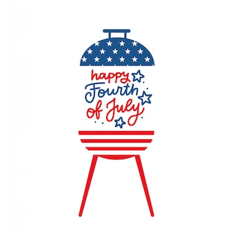 Bbq grill party invitation card template. flat design icon star and strip pattern happy independence day united states of america. 4th of july. flat design illustration with lettering